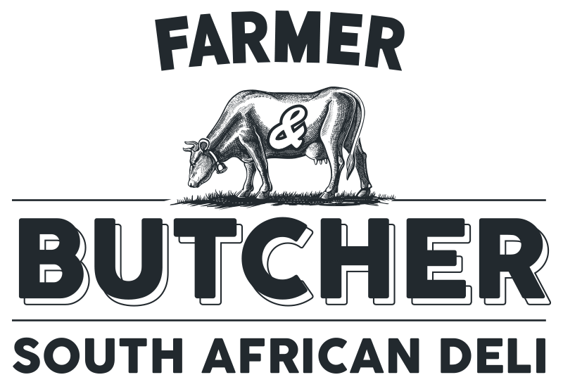 Farmer & Butcher South African Deli Logo Blue